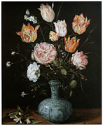 Flowers In White Vase Posters - Flower Piece Poster by Jan Brueghel The Elder