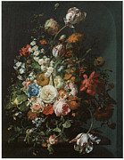 English Rose Posters - Flower Piece Poster by Rachel Ruysch