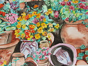 Impressionism Acrylic Prints Art - Flower Pots  - The Collection by Esther Newman-Cohen