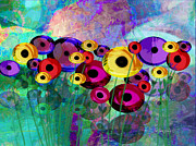 Digital Collage Digital Art Posters - Flower Power abstract art  Poster by Ann Powell