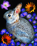 Patch Posters - Flower Power Bunny Poster by Terril Heilman