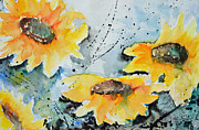 Ismeta Painting Prints - Flower Power- Floral Painting Print by Ismeta Gruenwald