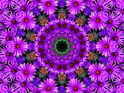 Flower Kaleidoscopes Prints - Flower Power Print by Kristie  Bonnewell