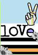 Juvenile Licensing Mixed Media Posters - Flower Power Rainbow Love Poster by Anahi DeCanio