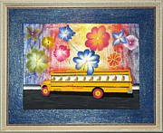 Original  By Artist Paintings - Flower Power by Ron Davidson