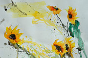 Field Of Sunflowers Paintings - Flower Power- Sunflower by Ismeta Gruenwald