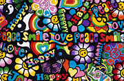 Smiley Faces Prints - Flower Power Print by Tim Gainey