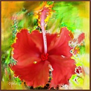 Flower Red Print by Nedunseralathan R