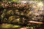 Stone Bench Prints - Flower - Rose - In the rose garden  Print by Mike Savad