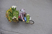 Flower Seller In Street Of Hanoi Print by Sami Sarkis