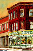 Window Signs Paintings - FLOWER SHOP PAINTING BOUTIQUE Coin Vert FLEURISTE Montreal Central 3403 Rue Notre-Dame SCENES  by Carole Spandau