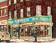 South West Montreal Posters - Flower Shop Rue Notre Dame Street Coin Vert Fleuriste Boutique Montreal Winter Stroll Scene Poster by Carole Spandau