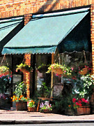Flower Pots Prints - Flower Shop With Green Awnings Print by Susan Savad