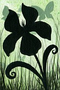 Aceo Metal Prints - Flower Silhouette 10 Metal Print by Elaina  Wagner