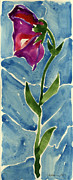 Printmaking Prints - Flower Standing against the wind  Print by Cathy Peterson