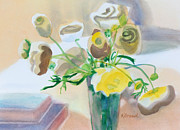 White Red And Yellow Prints - Flower Still Life          Print by Kathy Braud