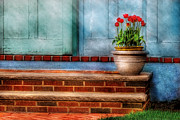 Flower Pots Prints - Flower - Tulip - A pot of tulips Print by Mike Savad