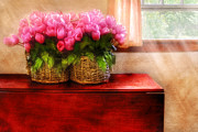 Mahogany Red Photo Prints - Flower - Tulips by a Window Print by Mike Savad