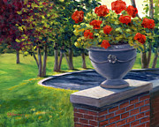 Red Geraniums Painting Posters - Flower Urn Poster by Elaine Farmer