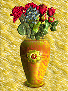 Handcrafted Digital Art - Flower Vase by John Clarke