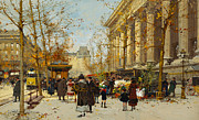 Figures Painting Framed Prints - Flower Walk Framed Print by Eugene Galien-Laloue