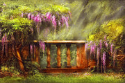 Purple Floral Prints - Flower - Wisteria - A lovers view Print by Mike Savad