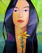 Portraits Tapestries Textiles Metal Prints - Flower Woman Metal Print by Lutz Baar
