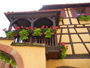 Alsace Framed Prints - Flowered Balcony Framed Print by Lilian Norris