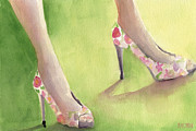 High Heels Art Posters - Flowered Shoes Fashion Illustration Art Print Poster by Beverly Brown Prints