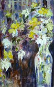 Palette Knife And Brush Posters - Flowerfall Poster by Claudia Hanson