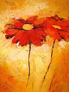 Gerbera Paintings - Flowerimpression by Lutz Baar