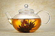 Teapot Metal Prints - Flowering blooming tea Metal Print by Elena Elisseeva