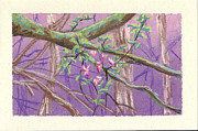 Moss Green Pastels Prints - Flowering Moldy Tree Print by Ila Medlin