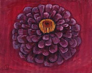 Zinnia Paintings - Flowering Plum Zinnia by Cecely Bloom