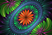 Fractal Designs Prints - Flowering Print by Sandy Keeton