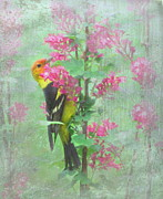 Flowers On Head Posters - Flowering Tanager Poster by Angie Vogel