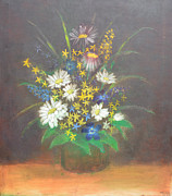 Still Life Photographs Painting Posters - Flowers 3 Poster by Mirek Bialy