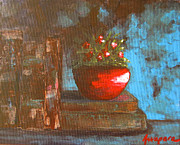 Interior Still Life Painting Metal Prints - Flowers and Books Metal Print by Patricia Awapara
