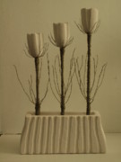 Fine Art Sculptures Mixed Media - Flowers And Candles by Thomas Maes