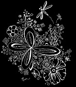 Ink Drawing Digital Art Posters - Flowers and Dragonflies Abstract Shapes Black and White Contemporary Art by MADART Poster by Megan Duncanson