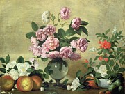 Flower Still Life Posters - Flowers and Fruit Poster by Bernardo Strozzi