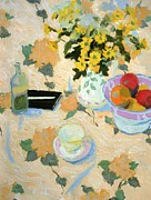 Perspective Paintings - Flowers and Fruit by Hugo Grenville