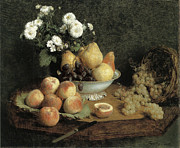 Bowl Of Peaches Posters - Flowers and Fruit on a Table Poster by Henri Fantin-Latour