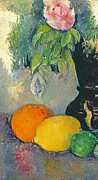 Fruit Still Life Posters - Flowers and Fruits Poster by Paul Cezanne