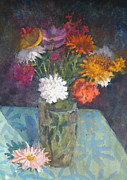 Terry Perham Art - Flowers And Glass by Terry Perham