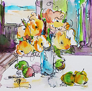 Becky Kim Artist Mixed Media Metal Prints - Flowers and Green Apples Metal Print by Becky Kim