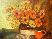Mums Paintings - Flowers and Red Pitcher by Virginia Ann Hemingson