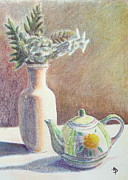 Vase Pastels Prints - Flowers and Teapot Print by Matthew Patenaude