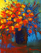 Interior Still Life Paintings - Flowers are always welcome III by Patricia Awapara