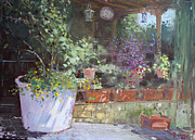 Veranda Paintings - Flowers at Lidas Veranda by Ylli Haruni